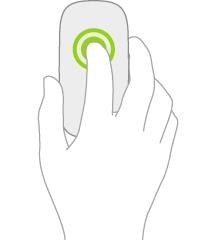 En illustration, der viser, hvordan du trykker og holder nede på en mus.