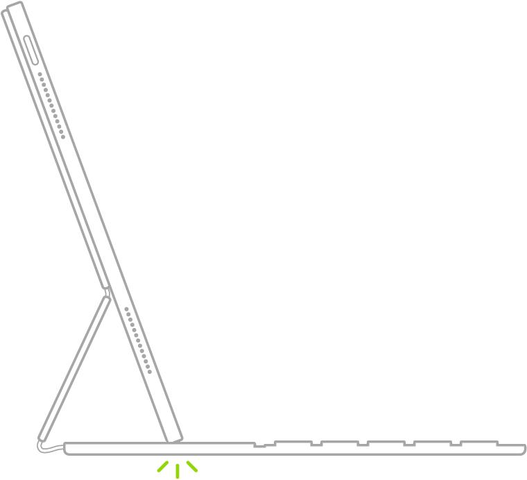 En illustration af tastaturet foldet i skriveposition. iPad er anbragt i fordybningen over taltasterne.