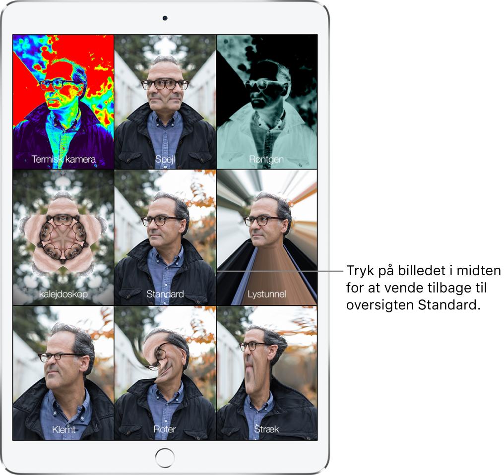 En PhotoBooth-skærm, der viser ni billeder af en mands ansigt med forskellige effekter i hvert felt. I øverste række fra venstre mod højre ses effekterne Termisk kamera, Spejl og Røntgen. I den midterste række fra venstre mod højre ses effekterne Kalejdoskop, Standard og Lystunnel. I den nederste række fra venstre mod højre ses effekterne Klemt, Roter og Stræk.