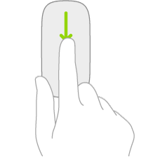 En illustration, der viser den bevægelse på en mus, der bruges til åbne Søg fra hjemmeskærmen.