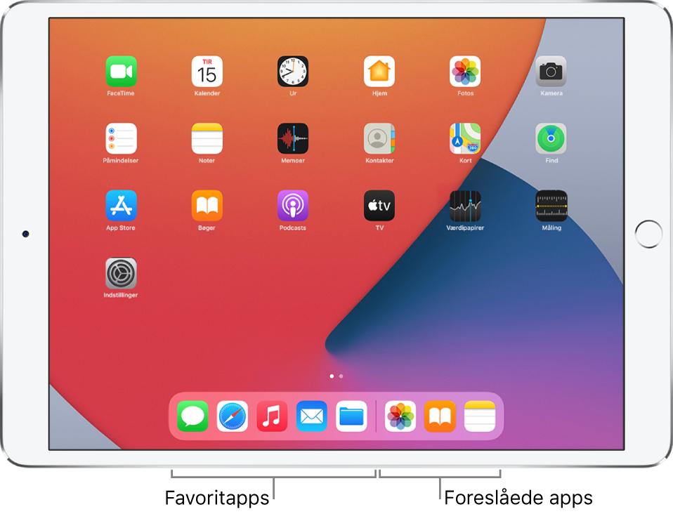 Dock, der viser fem favoritapps til venstre og tre foreslåede apps til højre.