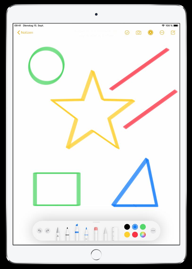 """Eine Notiz in der App """"Notizen"""" mit verschiedenfarbigen Sternen, Linien und Formen."""