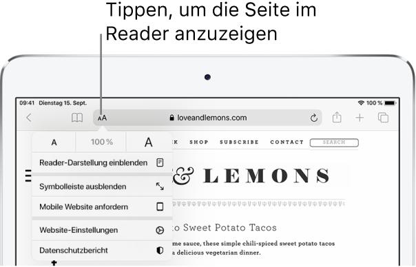 """Die Safari-Symbolleiste mit der Taste """"Reader"""" auf der linken Seite des Adressfelds."""