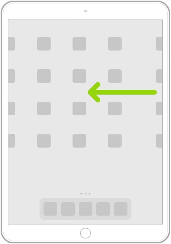 Eine Abbildung, die das Streichen nach links oder nach rechts zum Anzeigen der Apps auf den weiteren Seiten des Home-Bildschirms zeigt.