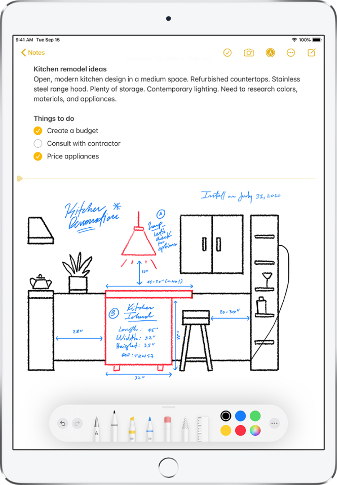 A hand-drawn sketch of a kitchen is shown with labels and measurements for a remodel. The Markup toolbar appears along the bottom of the screen, showing drawing tools and color selections.