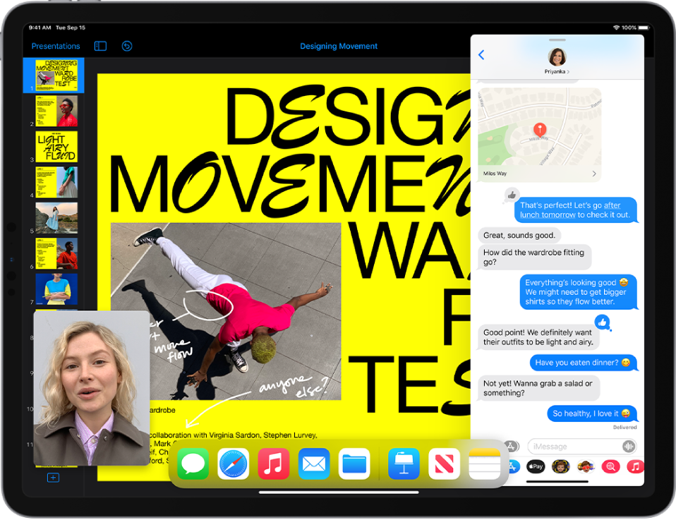 A presentation app is open on the left side of the screen, a Messages conversation is open on the right, and a small FaceTime window appears in the lower-left corner.