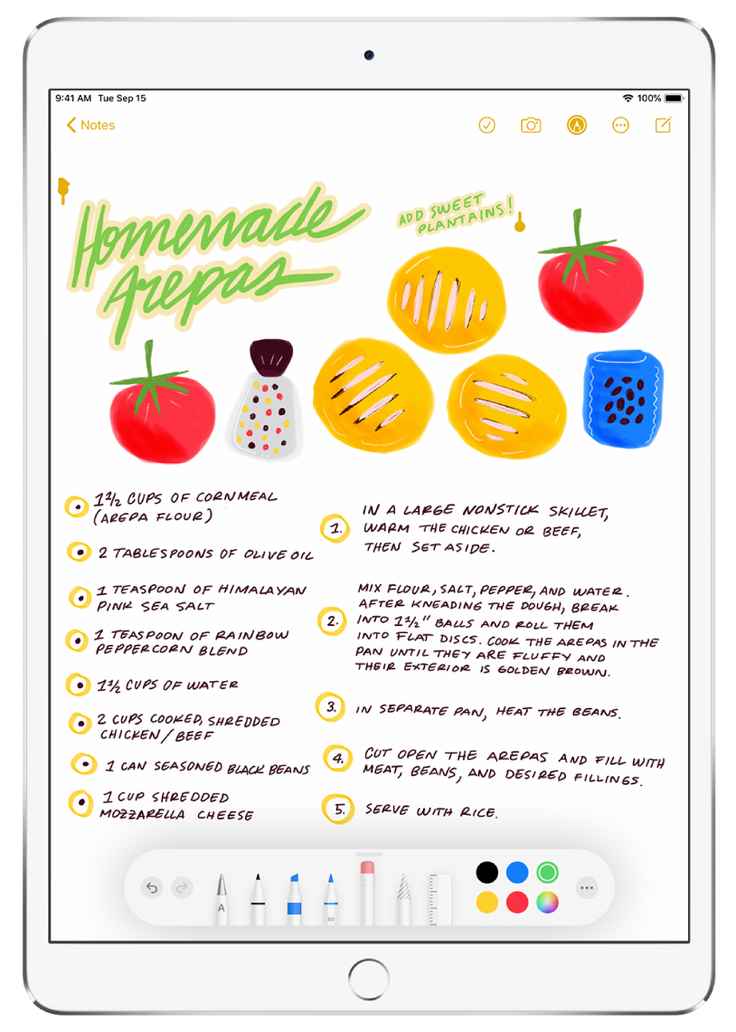 A drawing and handwritten recipe in a note in the Notes app. The title of the recipe at the top of the screen is selected. At the bottom of the screen, the toolbar shows the color chosen to modify the selected handwriting.