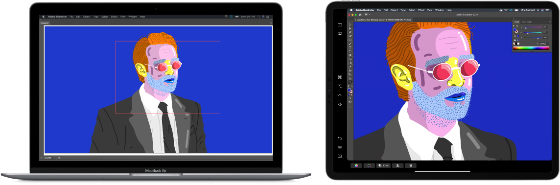 A Mac screen next to an iPad screen. Both screens show a window from a graphics application.