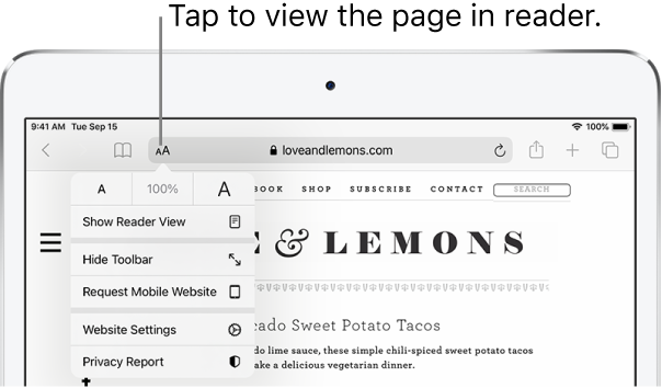 The Safari toolbar, with the Reader button on the left side of the address field.