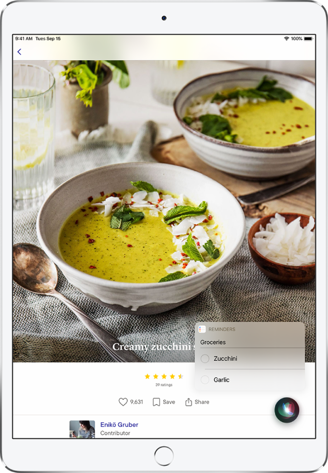 Siri displays a reminders list called Groceries with zucchini and garlic listed. The list appears over a recipe for creamy zucchini soup.