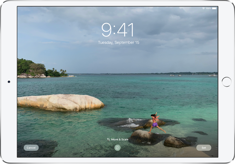 The iPad Lock Screen with a photo from the photo library as the background.