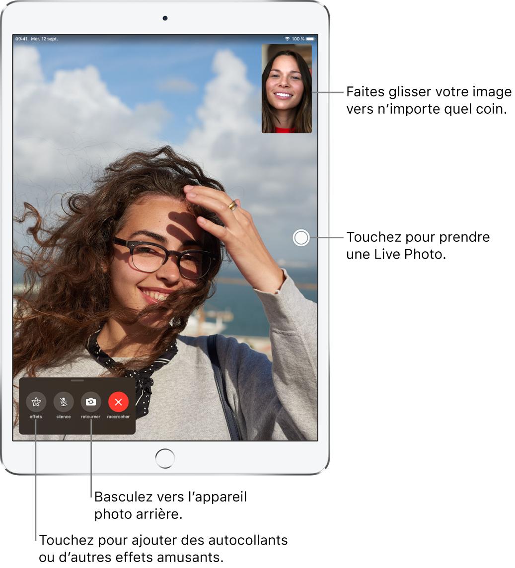 L'écran FaceTime montrant un appel en cours. Votre photo apparaît dans un petit rectangle dans le coin supérieur droit, et celle de l'autre personne occupe le reste de l'écran. Au bas de l'écran se trouvent les boutons Effets, Couper le micro, Retourner et Raccrocher.