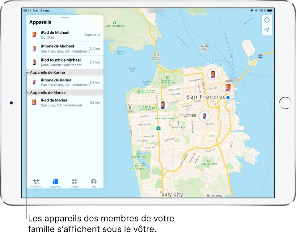 L'app Localiser ouverte sur l'onglet Appareils. Les appareils de Michael se trouvent en haut de la liste. L'iPhone de Karina et l'iPad de Marisa figurent en dessous. Leur position est affichée sur un plan de San Francisco.