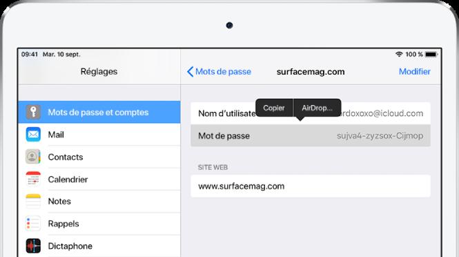 L'écran des mots de passe pour un site web. La section mot de passe est sélectionnée et un menu comprenant les éléments Copier et AirDrop s'affichent au-dessus.