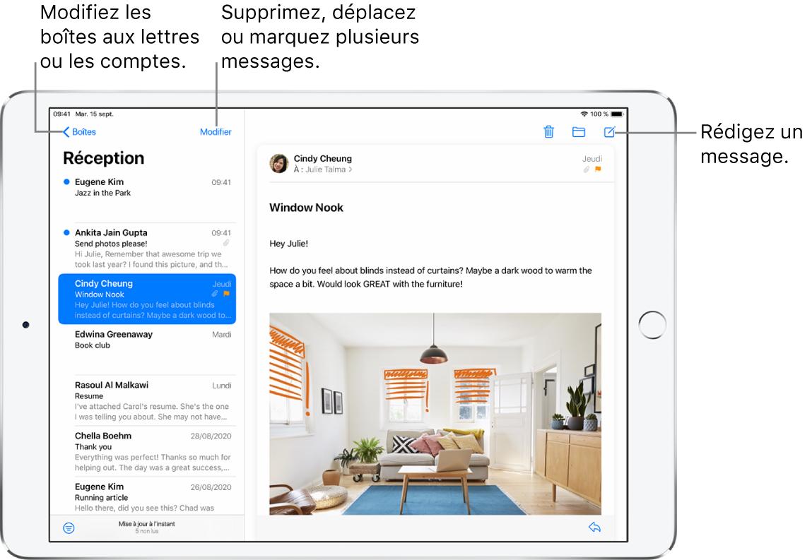 La boîte de réception de Mail, avec la liste des e-mails sur la gauche et un fil de discussion par e-mails ouvert sur la droite. Le bouton Boîtes permettant de passer à une autre boîte aux lettres se trouve dans le coin supérieur gauche. Le bouton permettant de filtrer les e-mails pour n'afficher que certains d'entre eux se trouve dans le coin inférieur gauche. Le bouton permettant de rédiger un nouvel e-mail se trouve dans le coin supérieur droit.