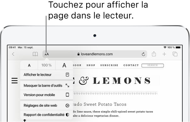 La barre d'outils Safari, avec le bouton Lecteur sur le côté gauche du champ d'adresse.