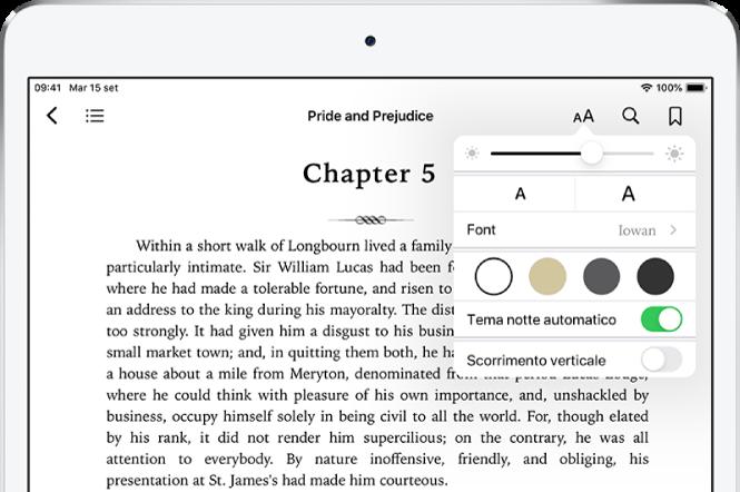 Il menu Aspetto selezionato in un libro, che contiene, dall'alto verso il basso, i controlli per luminosità, per determinare la dimensione e lo stile del font, il colore pagine, il tema notte automatico e quelli per la visualizzazione a scorrimento.