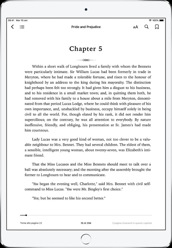 La pagina di un libro aperta nell'app Libri che mostra i controlli di navigazione nella parte superiore dello schermo, da sinistra a destra, il pulsante per chiudere un libro, Indice, il menu Aspetto, Cerca e Segnalibri.
