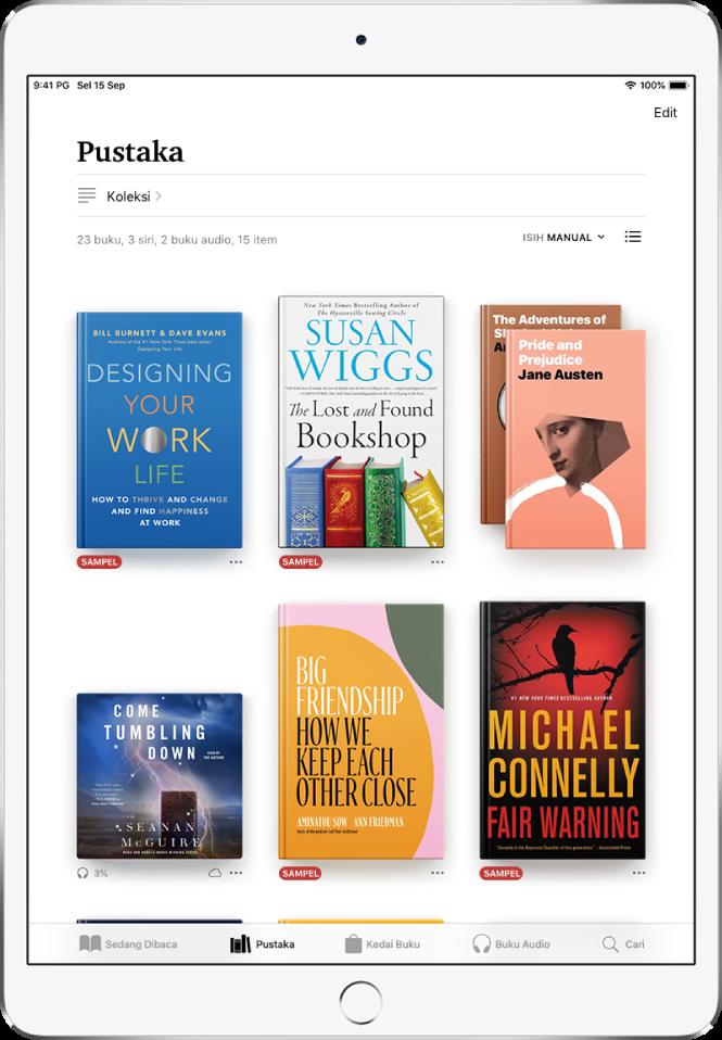 Skrin Pustaka dalam app Buku. Di bahagian atas skrin ialah butang Koleksi dan pilihan pengisihan. Pilihan isih Terkini dipilih. Di bahagian tengah skrin ialah kulit buku dalam pustaka. Di bahagian bawah skrin ialah, dari kiri ke kanan, tab Sedang Dibaca, Pustaka, Kedai Buku, Buku Audio dan Cari.