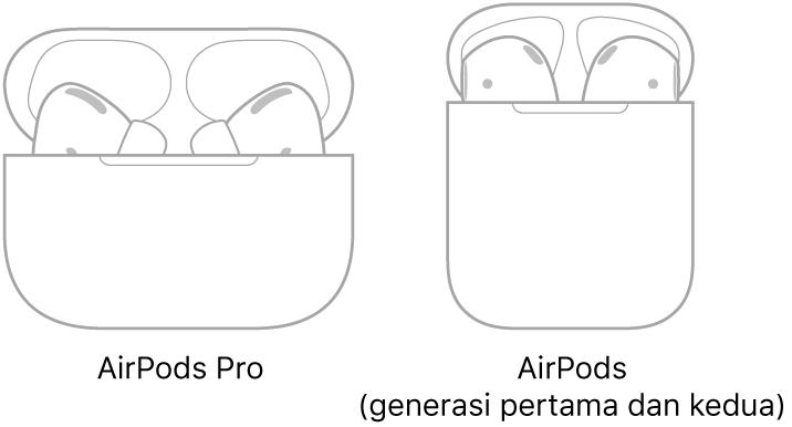 Di bahagian kiri, ilustrasi AirPods Pro dalam bekasnya. Di bahagian kanan, ilustrasi AirPods (generasi ke-2) dalam bekasnya.