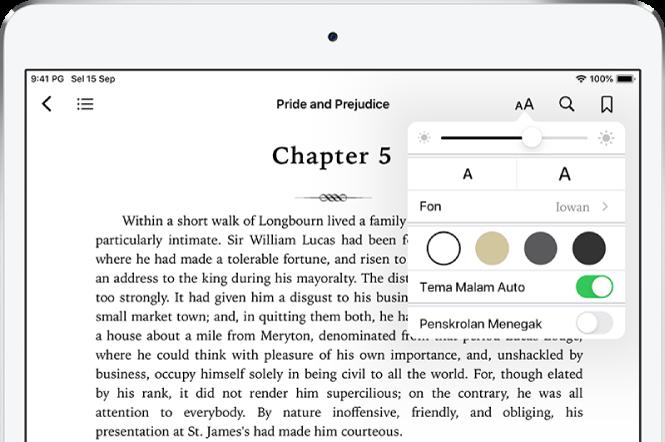 Menu penampilan dalam buku dipilih menunjukkan kawalan untuk, dari atas ke bawah, kecerahan, saiz fon, gaya fon, warna halaman, tema malam auto dan paparan penskrolan.