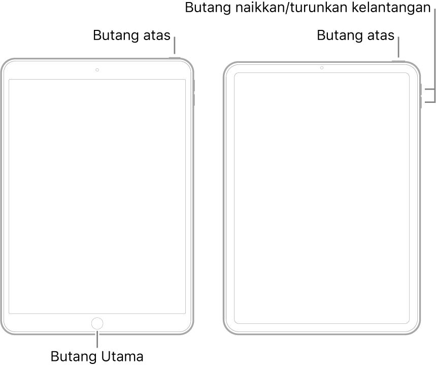 Ilustrasi dua model iPad berbeza dengan skrin menghadap ke atas. Ilustrasi paling kiri menunjukkan model dengan butang Utama pada bahagian bawah peranti dan butang atas di pinggir kanan atas peranti. Ilustrasi paling kanan menunjukkan model tanpa butang Utama. Pada peranti ini, butang naikkan kelantangan dan turunkan kelantangan ditunjukkan di pinggir kanan peranti berhampiran bahagian atas dan butang atas ditunjukkan di pinggir kanan atas peranti.