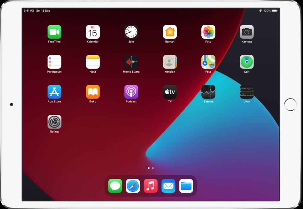 Skrin Utama iPad dengan ModGelap diaktifkan.