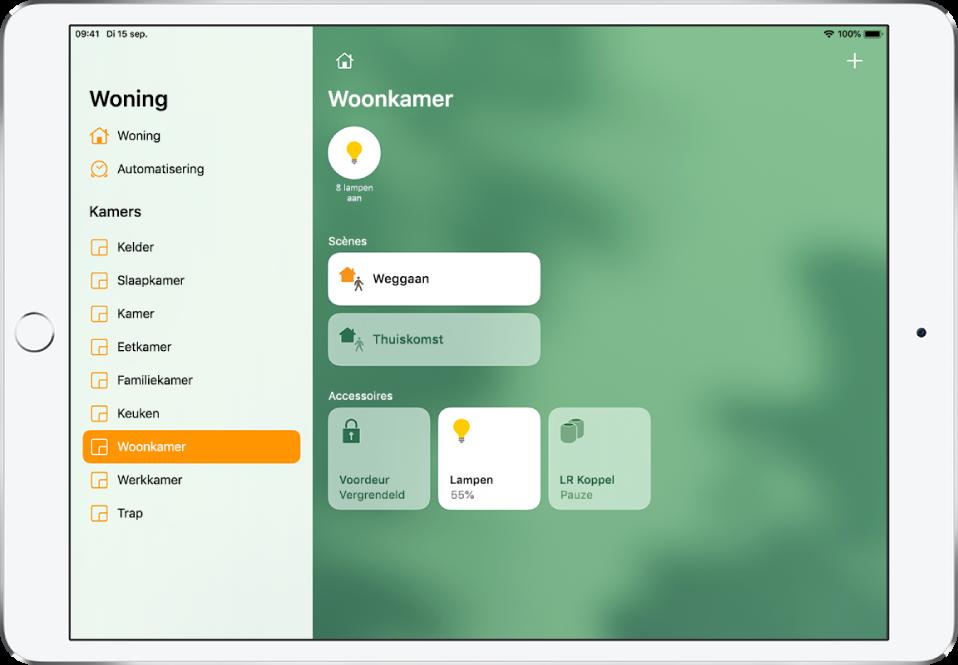 De Woning-app met de navigatiekolom aan de linkerkant. In de navigatiekolom is 'Woonkamer' gemarkeerd. Aan de rechterkant zie je bovenaan een statusknop voor twee lampen, daaronder twee scènes en onderaan drie accessoireknoppen.