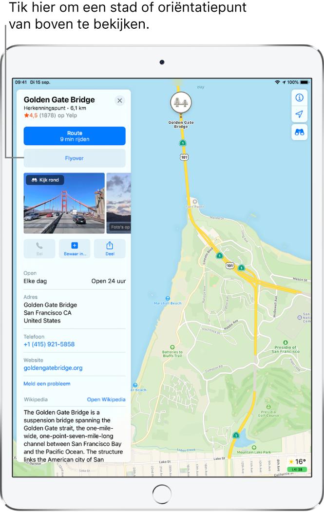 Een kaart van San Francisco. Aan de linkerkant van het scherm zie je een informatiekaart van de Golden Gate Bridge met de knop 'Flyover' onder de knop 'Route'.