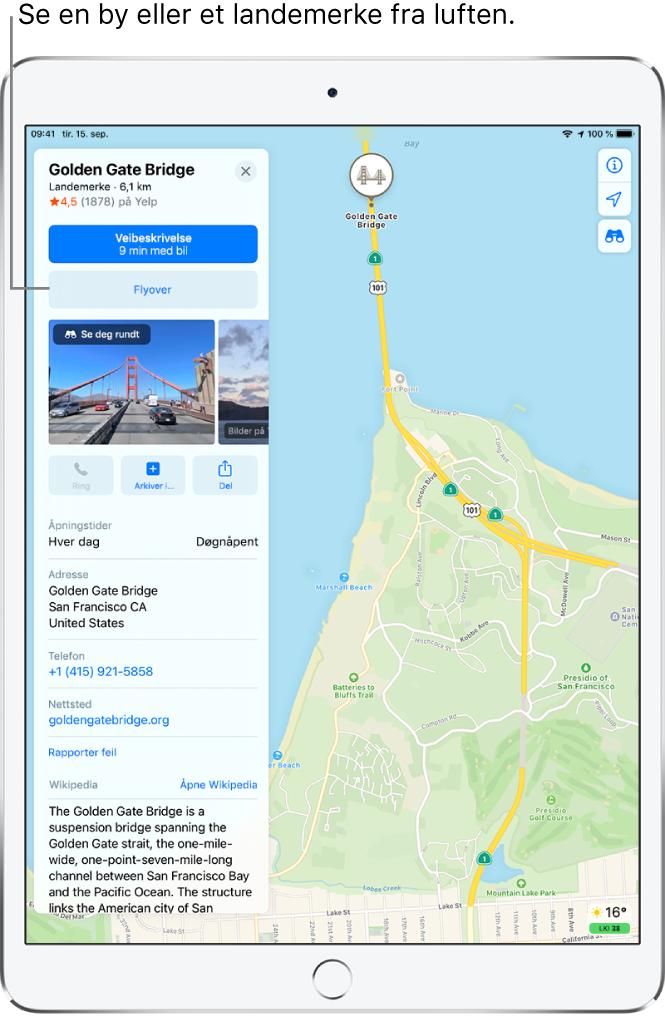 Et kart over San Francisco. På venstre side av skjermen viser et informasjonskort for Golden Gate Bridge en Flyover-knapp under en Veibeskrivelse-knapp.