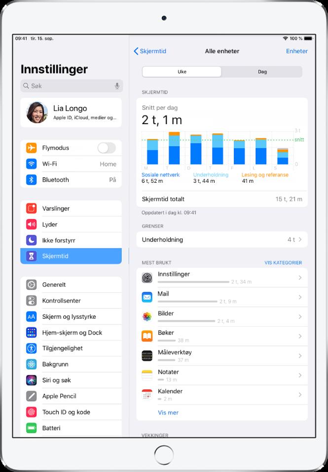 En ukesrapport for skjermtid som viser hvor mye tid som totalt er brukt på apper, etter kategori og etter app.