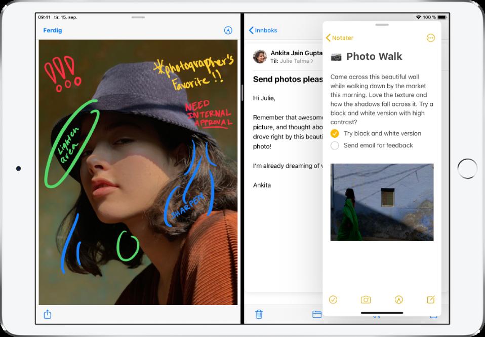 En grafikk-app er åpnet på venstre side av skjermen, Kalender-appen er åpnet til høyre, og Mail er åpnet i et SlideOver-vindu som delvis dekker Kalender-appen.