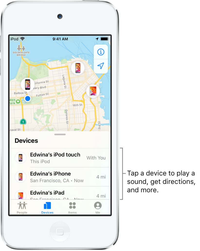 The Find My screen open to the Devices tab. There are three devices in the Devices list: Edwina's iPod touch, Edwina's iPhone, and Edwina's iPad. Their locations are shown on a map of San Francisco.