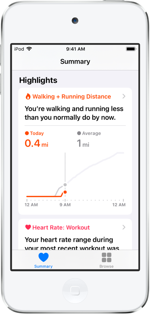 A Summary screen showing the walking and running distance for the day as a highlight.