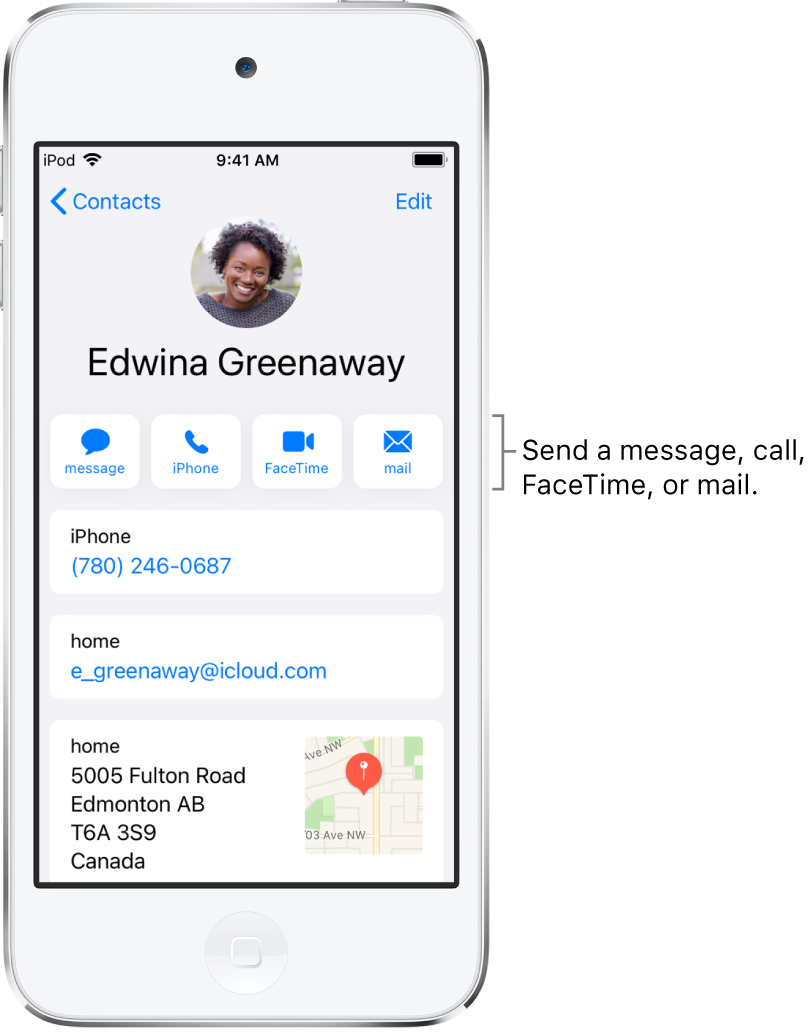 The info screen for a contact. At the top is the contact's photo and name. Below are buttons for sending a message, making a phone call, making a FaceTime call, and sending an email message. Below the buttons is the contact information.