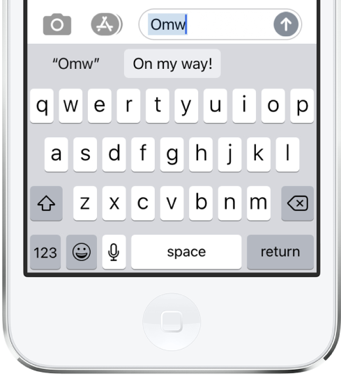 "A message with the text shortcut OMW typed and the phrase ""On my way!"" suggested below as replacement text."