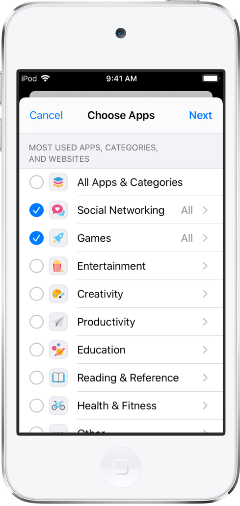 The App Limits screen in Screen Time with a list of app categories. The categories, listed from top to bottom, are: All Apps and Categories, Social Networking, Games, Entertainment, Creativity, Productivity, Education, and Reading and Reference. Next to each category is a circle to select the category and set a time limit.