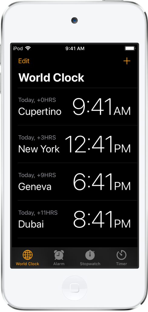 The World Clock tab, showing the time in various cities. Tap Edit in the upper-left corner to arrange the clocks. Tap the Add button in the upper right to add more. The World Clock, Alarm, Stopwatch, and Timer buttons are along the bottom.