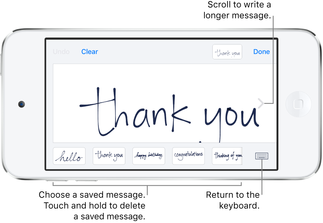 The handwriting screen with a handwritten message. Along the bottom, from left to right, are saved messages and the Show Keyboard button.