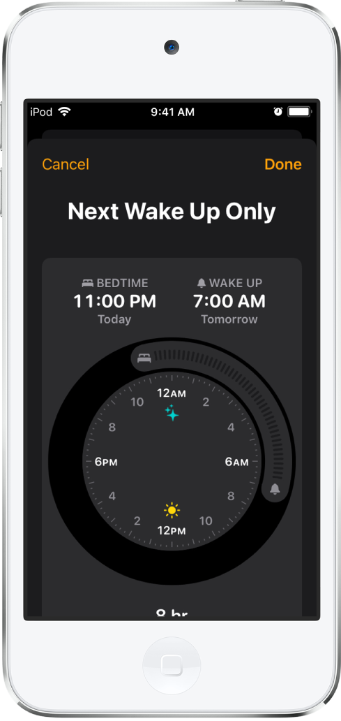 The Next Wake Up Only screen, showing the sleep time starting at 11 p.m. and a wake time of 7 a.m.