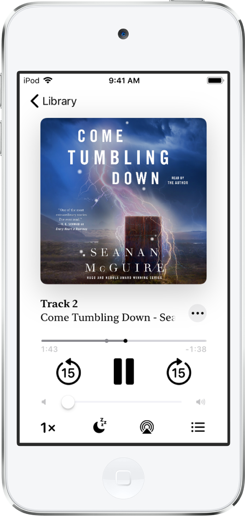 The audiobook player screen showing the audiobook cover at the top. Below the cover are the playhead, track number, author and audiobook name, and the play, pause, and skip back and skip forward controls. Below the player controls is the volume control slider. At the bottom of the screen, from left to right, are the Playback Speed button, Sleep Timer button, Playback Destination button, and Share button. The Track List button is at the top right and the Close button is at the top left.