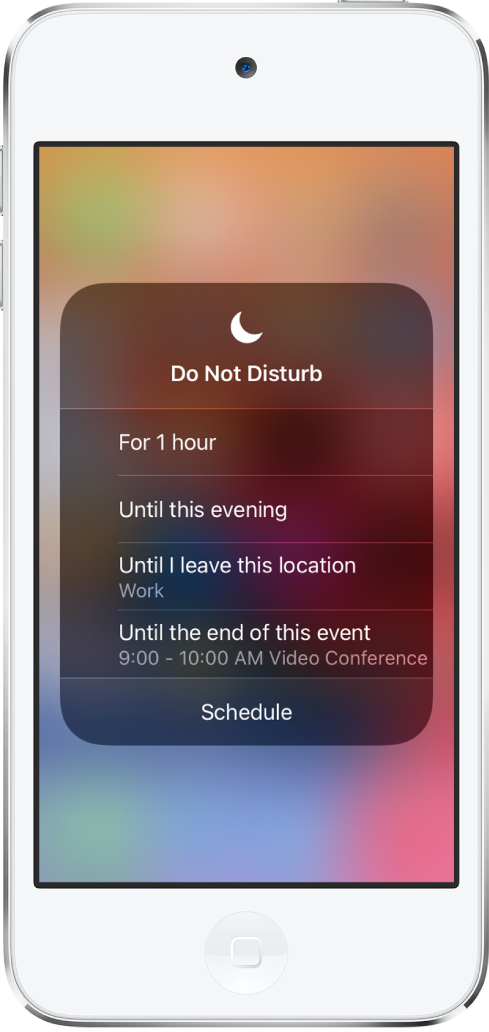 """The screen for choosing how long to leave on Do Not Disturb—the options are """"For 1 hour,"""" """"Until this evening,"""" """"Until I leave this location,"""" and """"Until the end of this event."""""""