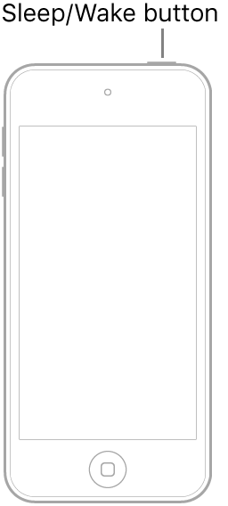 An illustration of iPod touch with the screen facing up. The Sleep/Wake button is shown on the top of iPod touch.