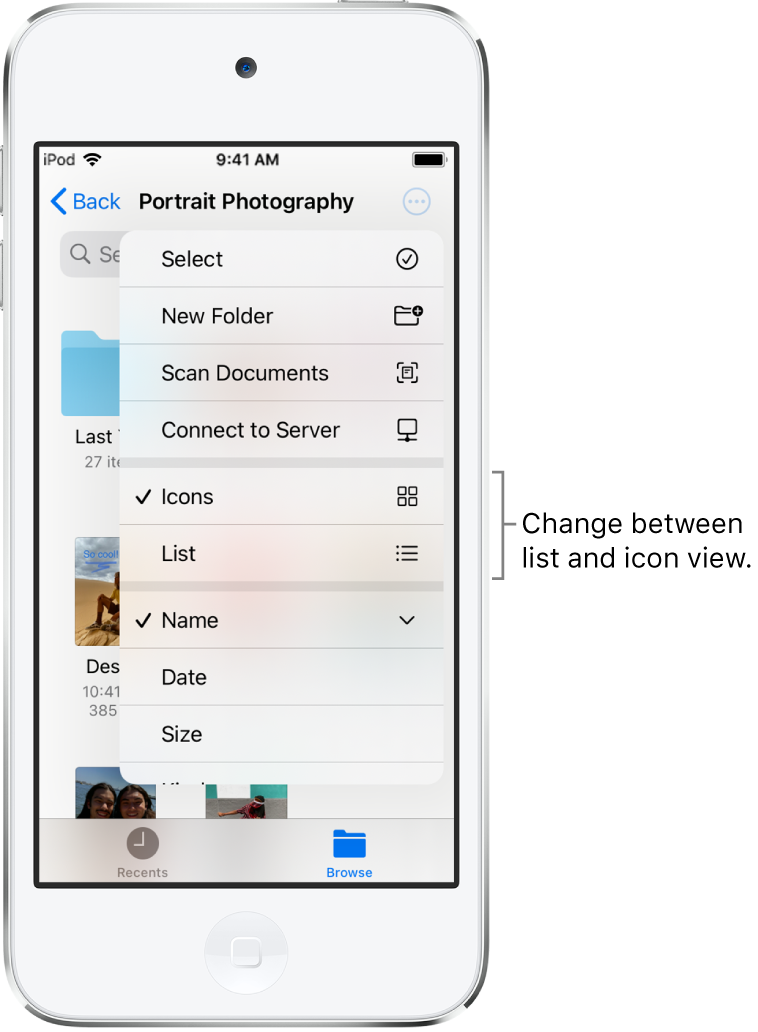 An iCloud Drive location for Photography files. The items are sorted by name and consist of a folder called Cottage remodel and six documents: Desert Stop, Karen Blue, Lakeside, Leafy Shadows, Mark Flip, and Susan Green. A button to change between list and icon view appears near the upper right.