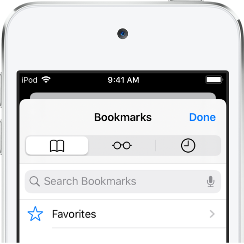 The Bookmarks screen, with options to see favorites and browsing history along with bookmarks.
