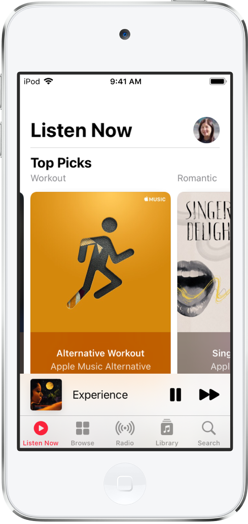 The Listen Now screen showing the profile button at the top right. Top Picks playlists appear below.