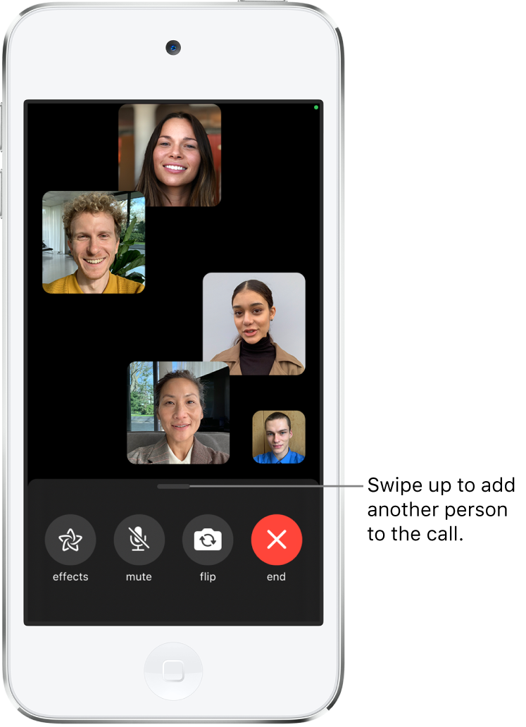 A group FaceTime call with five participants, including the originator. Each participant appears in a separate tile. The controls at the bottom of the screen are effects, mute, flip, and end.