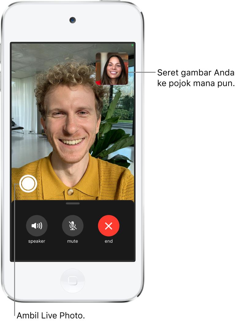 Layar FaceTime menampilkan panggilan yang sedang berlangsung. Gambar Anda muncul di persegi kecil di kanan atas, dan gambar orang lain akan mengisi sisa layar. Di sepanjang bagian bawah layar terdapat tombol Speaker, Bisukan, dan Akhiri.