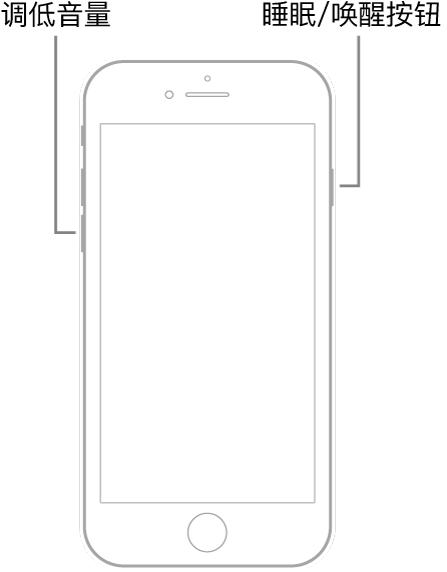 iPhone 7 插图,屏幕朝上。调低音量按钮显示在设备左侧,睡眠/唤醒按钮显示在右侧。