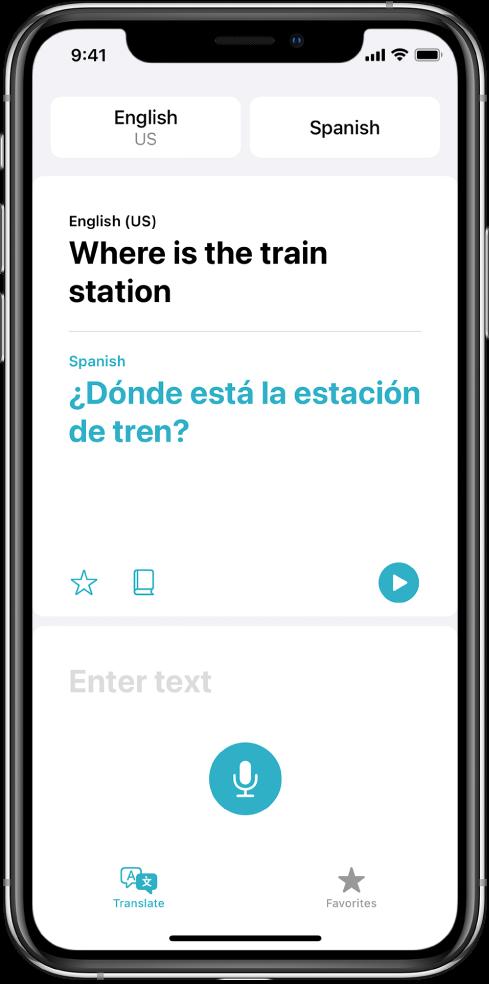 Екранът Translate (Превод), показващ два избрани езика—английски и испански в горния край, един превод в средата и полето Enter Text (Въвеждане на текст) в долния край.